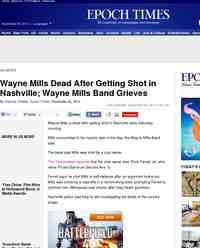 Wayne Mills Dead After Getting Shot in Nasville: Epoch Times